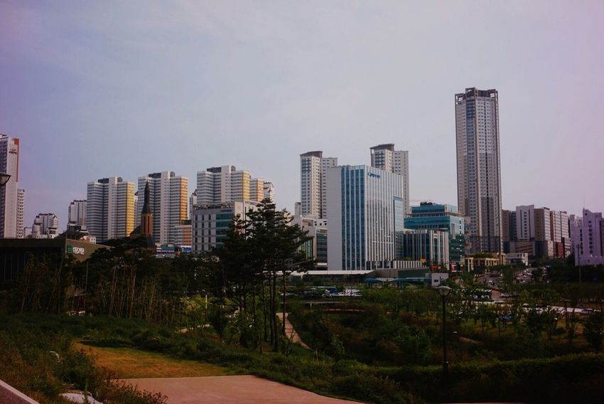 Skyscraper Architecture Building Exterior City Sky Modern Cityscape Built Structure Urban Skyline No People Travel Destinations Outdoors Tall Growth Clear Sky Day Tree Retro South Korea Industar69 Russianlens