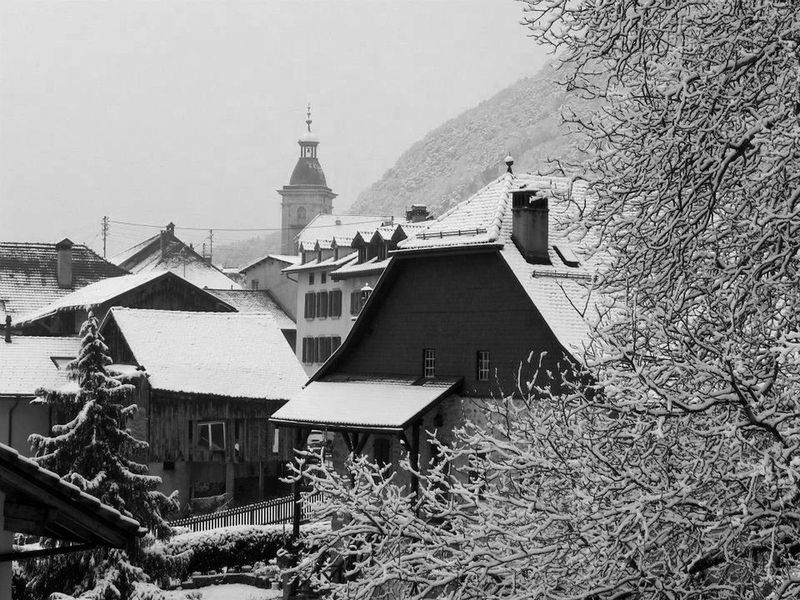 Ollon Village in Winter Black&white Building Exterior Church Old Houses Ollongong Outdoors Snow Village Life Winter Scene