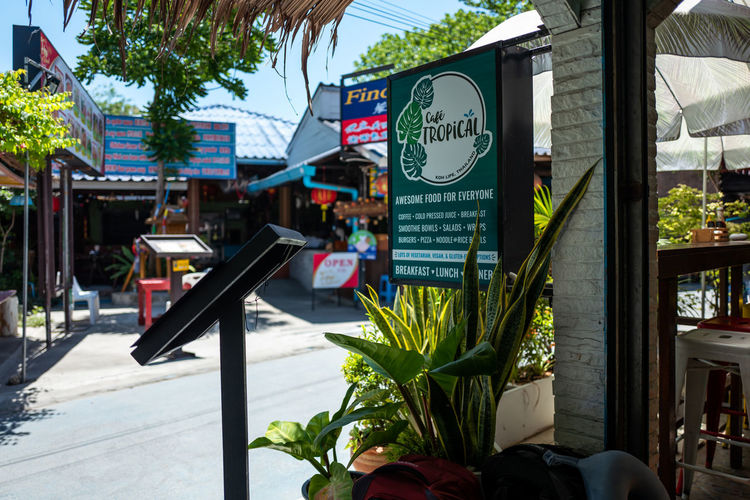 Koh Lipe Plant Built Structure Communication Architecture Text Nature Day Flower Focus On Foreground Building Exterior Sign Flowering Plant City Incidental People Script Non-western Script Information Outdoors Building