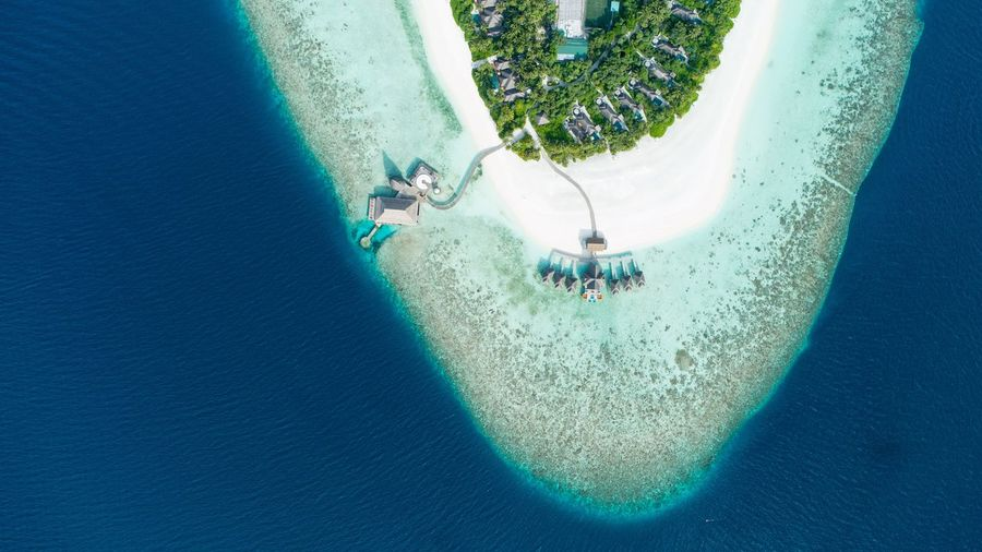 Aerial View Ocean Reef Resort Hotel Maldives Island Day Nature Real People High Angle View Lifestyles Leisure Activity Plant Outdoors Water Low Section Sunlight Blue Land My Best Photo