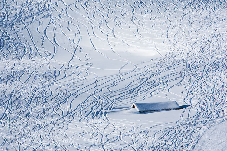 Snow Winter Hut Tracks Skiing Winter Sport Sunken Roof White Color Cold Temperature No People High Angle View Day Scenics - Nature Sunlight Slope Deep Snow Ski Track Mountain Powder Snow Covering Frozen Austria