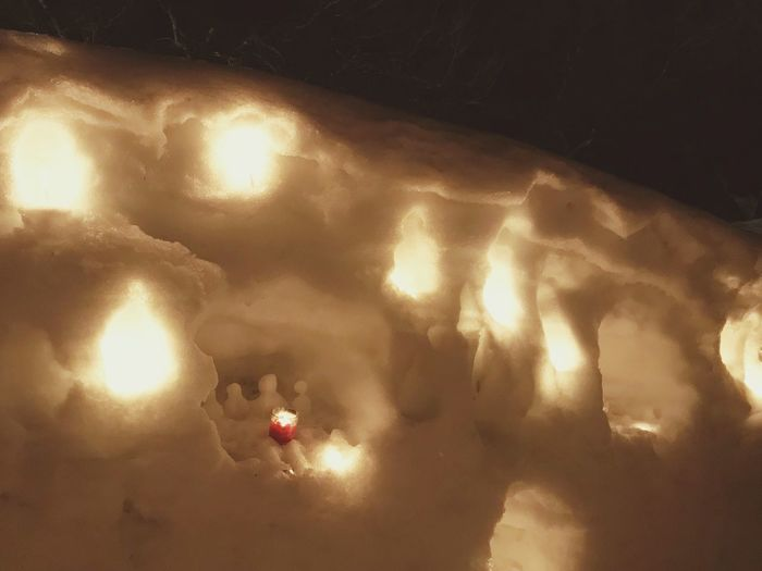 snow wall Snow Wall Snow Snowman Japan Candle Illuminated Low Angle View Night Indoors  No People Nature Lighting Equipment Light - Natural Phenomenon Shadow