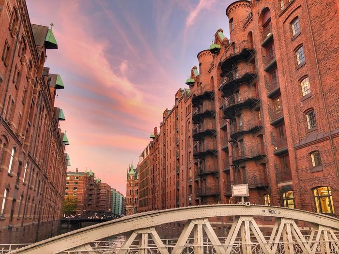 Speicherstadt Built Structure Architecture Building Exterior Sky Building City Cloud - Sky Travel Destinations Nature No People Sunset The Past History Travel Tourism Outdoors Low Angle View Tower Day