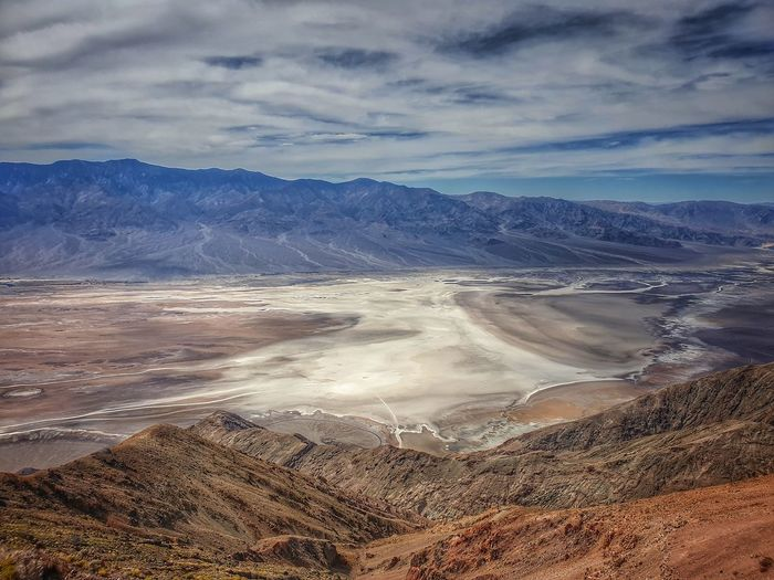 Death valley - aerial view of landscape against cloudy sky