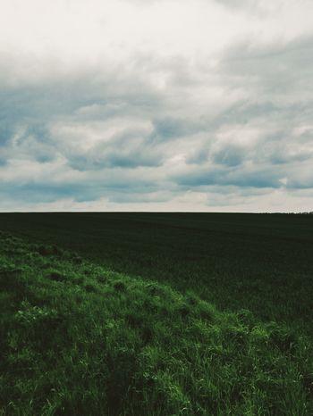 Clean Clouds Cloudy Field Fields Fieldscape Grass Grassy Green Grey Grey Sky Hill Minimal Minimalistic Minimlism Sky