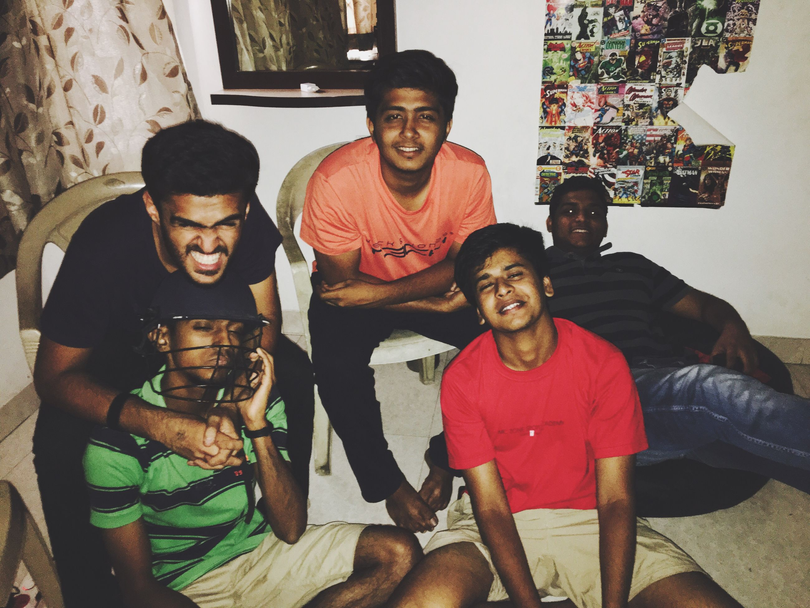 looking at camera, portrait, young adult, young men, togetherness, leisure activity, lifestyles, front view, person, standing, bonding, smiling, love, sitting, casual clothing, three quarter length, happiness, friendship, teenage boys, handsome, looking, confidence