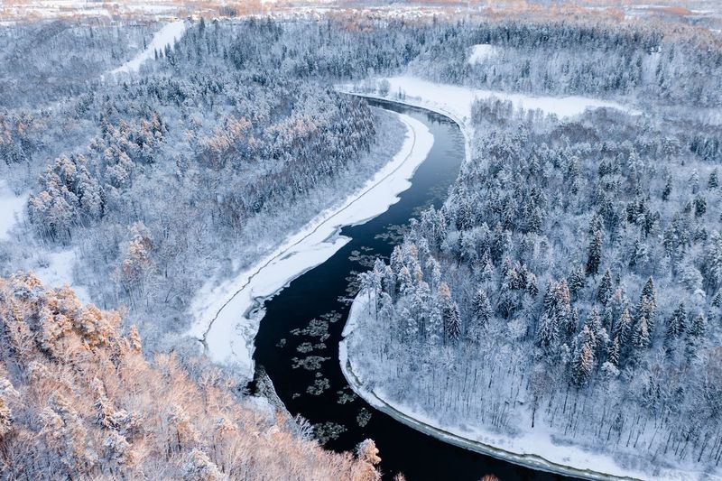 High angle view of river amidst snow covered landscape in forest
