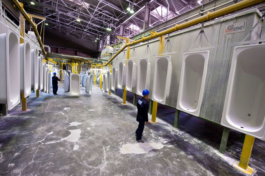 Russia, Yekaterinburg, Upper Iset plant, painting line baths Alley Architectural Column Architecture Building Built Structure City Life Corridor Day Diminishing Perspective Lifestyles Narrow Russia, Yekaterinburg, Upper Iset Plant, Painting Line Baths The Way Forward
