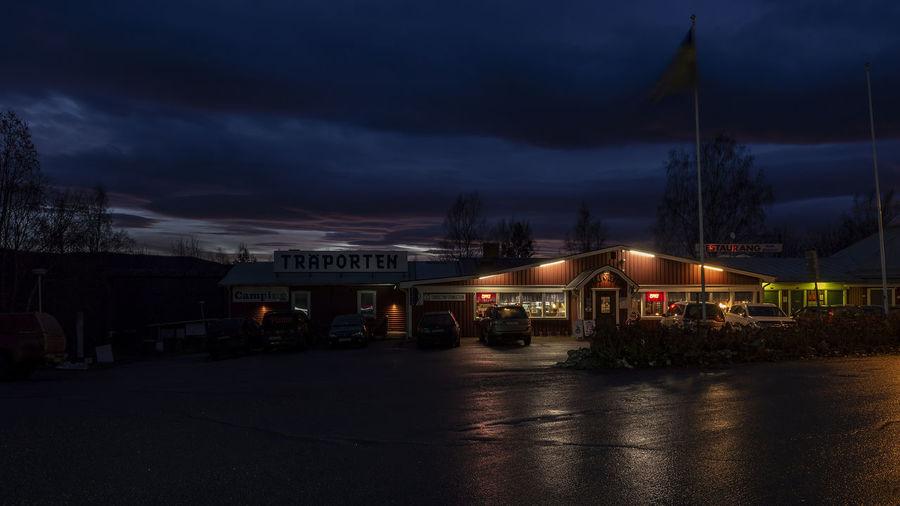 Diner Illuminated Sky Cloud - Sky Built Structure Night Transportation Building Exterior Architecture Mode Of Transportation Dusk Nature City No People Street Motion Lighting Equipment Land Vehicle Motor Vehicle Outdoors Car Olympus OM-D E-M10 Mark II Roadside Diner