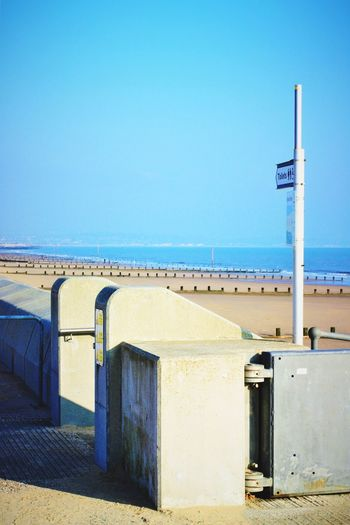 Beach view Dymchurch Beach Kent EyeEm Selects EyeEm Nature Lover Direction Signpost Sea Horizon Over Water Beach Water Blue Clear Sky Day Outdoors Nature Tranquility Sand Beauty In Nature Built Structure Scenics Tranquil Scene