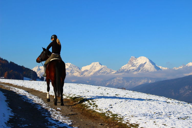 Riding through the mountains Horses Animal Themes Beauty In Nature Clear Sky Cold Temperature Full Length Horse Horse Photography  Horseback Riding Leisure Activity Lifestyles Mammal Mountain Mountain Range Nature One Person Outdoors People Real People Scenics Snow Winter