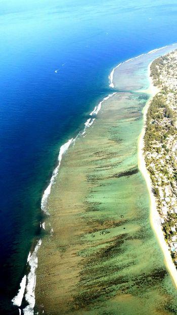 Sea Beach Aerial View Lagoon Coral Reef Wave Reunion Island La Réunion  Lagon Barrière De Corail Water Sand Travel Blue