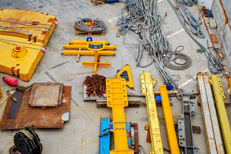 construction area with crane girder elements Architecture Building Exterior Built Structure Construction Area Crane - Construction Machinery Crane Elements Crane Girder Day Gride March Large Group Of Objects No People Outdoors Yellow