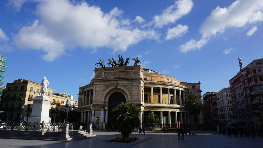 Politeama Theater. Piazza Politeama, Palermo, Sicily, Italy. Palermo Sony Photographer Photo Italy Sicily Blue Blue Sky Sonyalpha Sony A6000 Travel Travel Destinations Streetphotography Street Architecture_collection Vacations Vacation Horse Photography Horses Horse Sculpture Politeama Theatre Palermo Sicilia Italia Politeama Architectural Detail Architecture