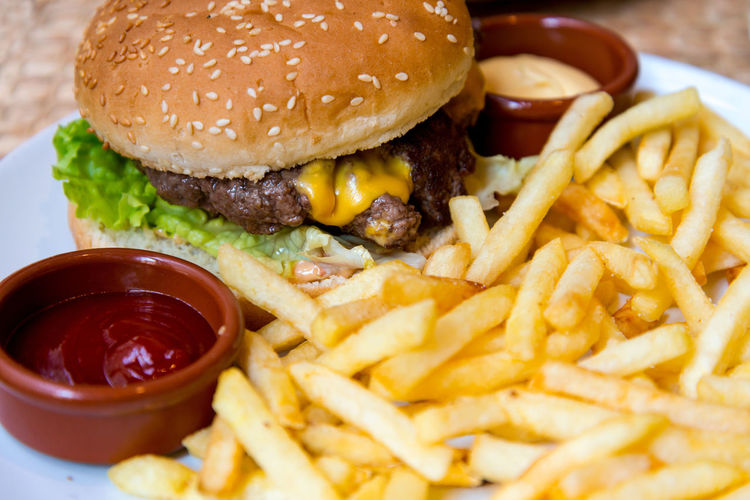 Close-up of burger and fries