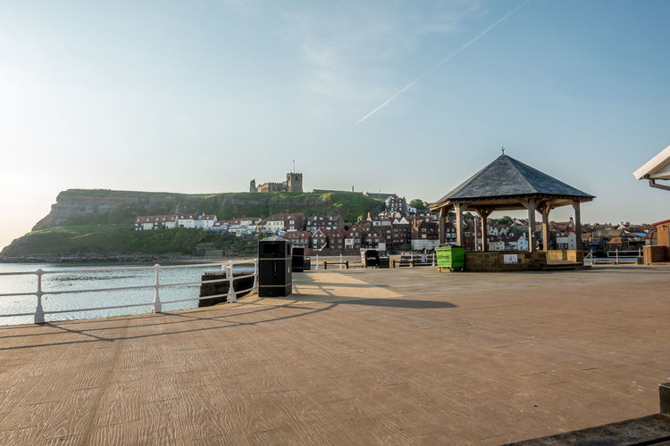 Whitby Whitby Harbour Whitby View Whitby North Yorkshire North Yorkshire Coast North Yorkshire Seaside Town Seaside Band Stand Architecture Built Structure Sky Sea Water No People Cloud - Sky Railing House Day Building Building Exterior Outdoors