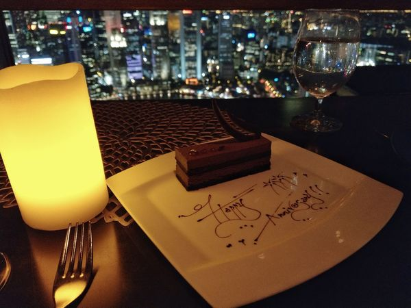 No People Restaurant Night Table City Cityscape Food Sweet Food Dessert Fine Dining Cuisine Fine Dining Gourmet Dining Food And Drink Temptation Anniversary Dinner Anniversarry Bakery Products Cakes, Sweets, Love It Cake Cake Cake Food Styling Indoors  Happy Anniversary