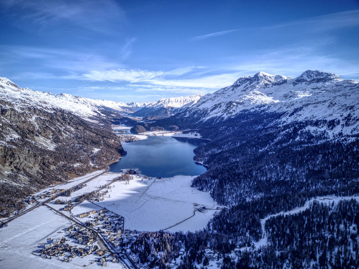 Drone  SilsMaria Aerial Photography Beauty In Nature Cold Temperature Day Dronephotography Engadin Frozen Ice Lake Landscape Mountain Mountain Range Nature No People Outdoors Scenics Sky Snow Snowcapped Mountain Tranquil Scene Tranquility Water Winter