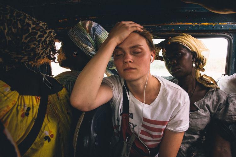 Women sitting in vehicle