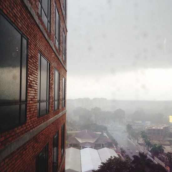 Raining Building Working View Workplace Throwback