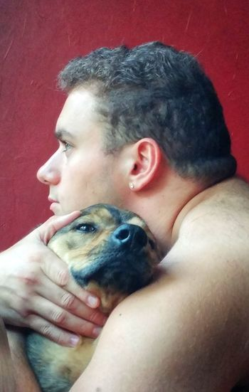 Love Kisses Love Pets Dog Human Eye Red Portrait Shirtless Lap Dog Pet Owner Puppy Canine