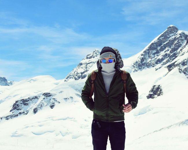 Snow Mountain One Person Sky Day Portrait Swiss Mountains Lifestyles Travel Mountains Carhartt