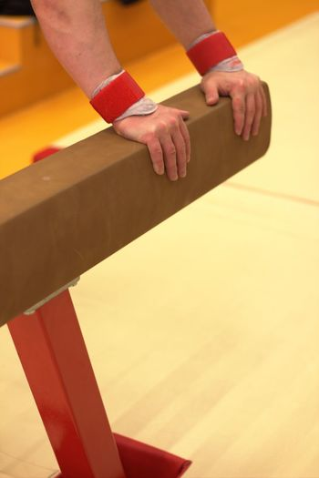 Cropped hands of person holding pommel horse in gym