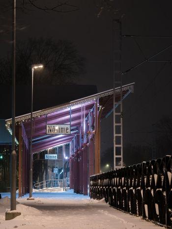 Architecture City Cold Temperature Illuminated Night Night Lights Night View Nightphotography No People Nõmme Outdoors Public Places Tallinn Trainstation Trainstations Winter Estonia