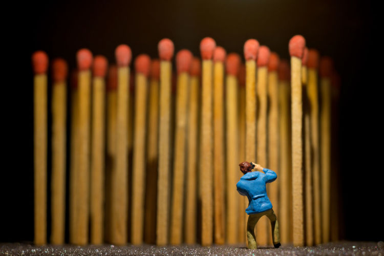 Tiny photographer and huge matchsticks