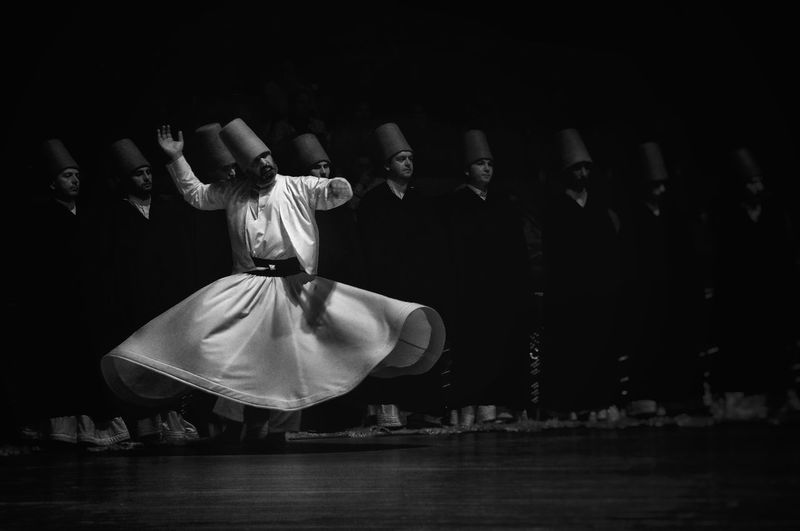 Semazen Sufi Sufism Mevlana Sems Konya Bnw Bw_collection Bnw_collection Light And Shadow Shutter EyeEm Best Shots EyeEmNewHere Performance Meditation Turkeyphotooftheday Turkey The Week On EyeEm Bestoftheday Indoors  Headwear One Person Adults Only Only Men