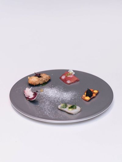Seafood on a plate Sashimi Dinner Sweet Food Food Dessert Food And Drink Studio Shot Plate Indulgence Still Life Chocolate White Background No People Temptation Freshness Frozen Food Ice Cream Gourmet Ready-to-eat Indoors  Close-up