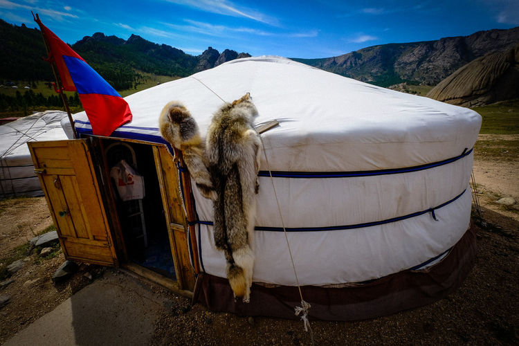 yurt Animal Animal Themes Day Domestic Domestic Animals Environment Field Flag Land Mammal Mountain Nature No People One Animal Outdoors Pets Sky Textile Vertebrate Working Animal