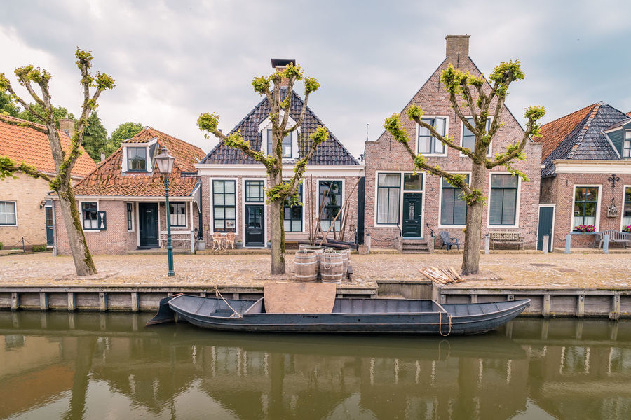 Netherlands Architecture Building Building Exterior Built Structure Canal Cloud - Sky Day Dutch Freisland Friesland Town House Nature Nautical Vessel No People Outdoors Plant Reflection Residential District Row House Sky Sloterdijk Town Transportation Water Waterfront
