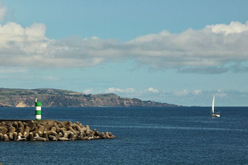 Harbor View Sailboat Water Sea Sky Cloud - Sky Nautical Vessel Mode Of Transportation Scenics - Nature