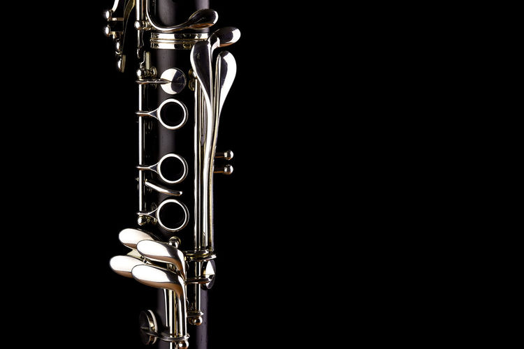 Music Instrument Clarinet, Clarinet Isolated on black Studio Shot Black Background Musical Instrument Arts Culture And Entertainment Music Copy Space Indoors  Metal Jazz Music Brass Instrument  Close-up Brass No People Wind Instrument Cut Out Trumpet Performance Gold Colored Single Object
