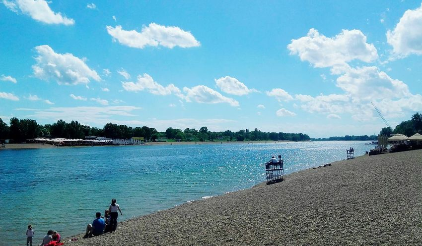 Beach Water Sky Cloud - Sky People Outdoors Summer Nature Lake Lake View Calm Water Reflection Ada Ciganlija Beograd Urbanphotography Colors Day Sky And Couds Cloudsporn White Clouds And Blue Sky Contrast Enjoying Life Serbia Likeforlike Like4like