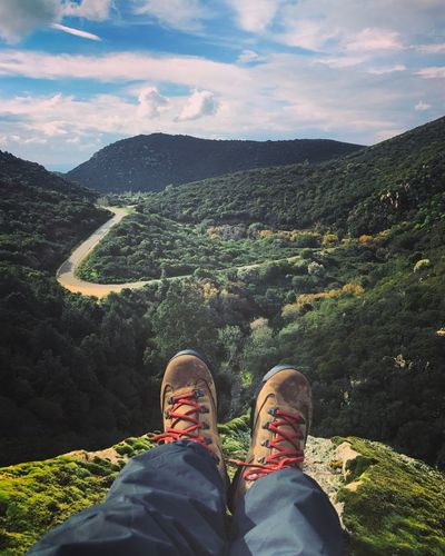 Human Body Part Shoe Personal Perspective Low Section Scenics Nature Beauty In Nature Leisure Activity Sky Human Leg Cloud - Sky Outdoors Mountain Day One Person Close-up People Adult