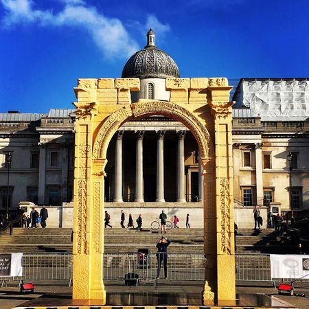 London Trafalgar Square Nelson's Column April Arch Of Triumph National Gallery  Sky Sunshine Spring World Heritage