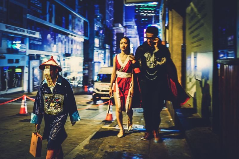Halloween night Discoverhongkong Night Full Length Illuminated Walking City Real People Protection City Life Two People Building Exterior Outdoors Lifestyles Women Young Adult Men Young Women Neon Architecture Adult People Capture The Moment Halloween LKF From My Point Of View