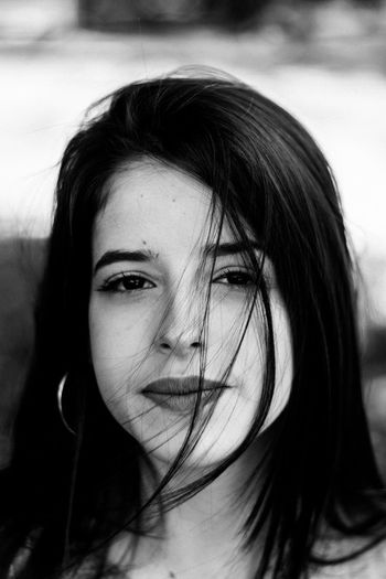 Portrait One Person Headshot Hair Young Women Hairstyle Front View Young Adult Long Hair Close-up Women Focus On Foreground Looking At Camera Adult Real People Beauty Lifestyles Body Part Beautiful Woman Human Face Black And White Black And White Photography