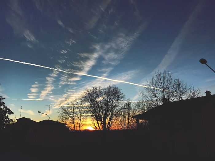 Sky Silhouette Cloud - Sky Vapor Trail Tree Building Exterior Built Structure Beauty In Nature Building Bare Tree Plant Low Angle View No People Scenics - Nature Architecture Sunlight Sunset Nature Outdoors House