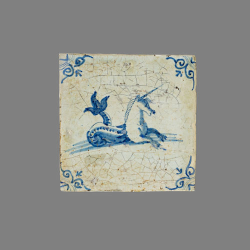 16th Century 17th Century 18th Century Historic Tile Unicorn