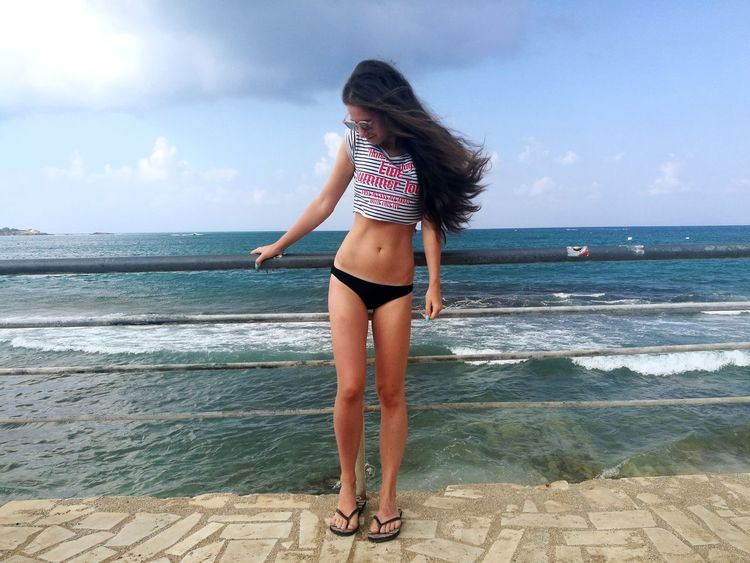 Chersonissos Crete Island Crete Greece Blue Water Young Women Sea Beauty Beach Child Women Full Length Standing Summer Bikini Bottom Bikini Beach Holiday Swimwear Wave