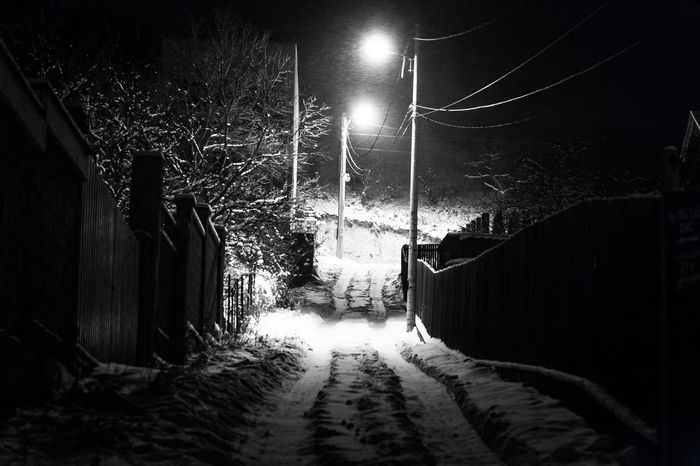 Black And White Photography Christmas Cold Temperature Country Path Deserted Freezing Illuminated Lighting Equipment Monochrome Night No People Outdoors Photograpghy  Path Romania Snow Snow ❄ Street Lamp Street Light Tunnel Winter Winter Wonderland