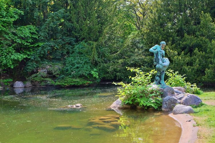View of statue in pond