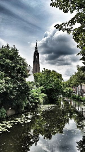Tranquility Architecture Taking Photos ❤ City City Tower Cloud - Sky Tree Water Outdoors History