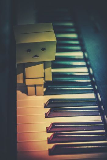 Danbo Danboard Feelings Piano Indoors  Arts Culture And Entertainment Close-up Box Doll Lifestyles Lonely Toys