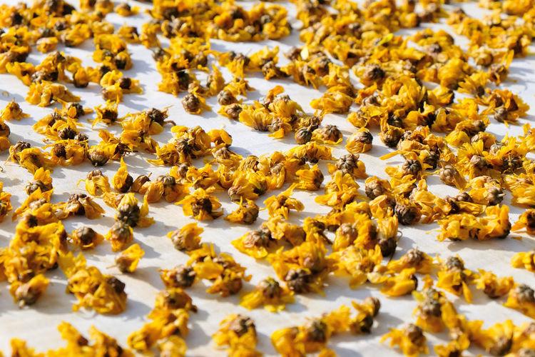 Full frame shot of flowers drying on fabric