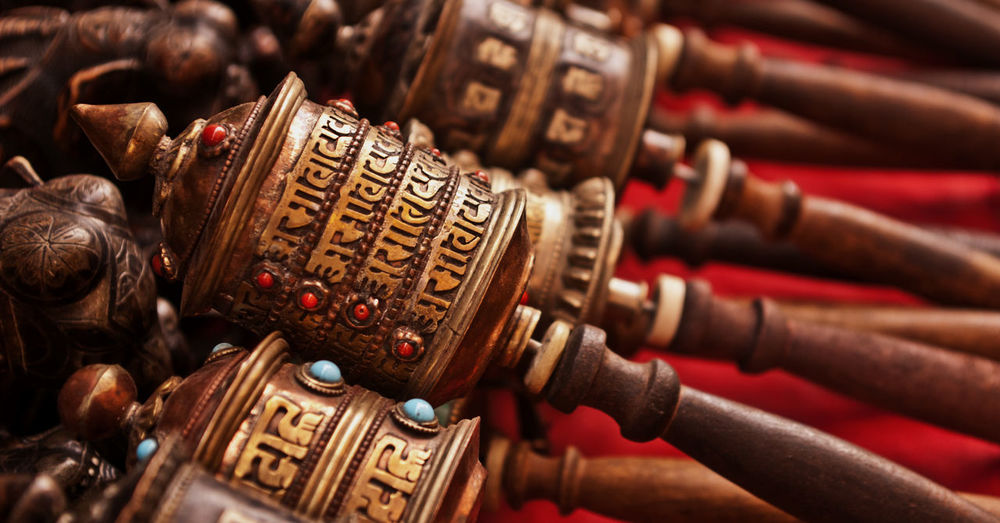 Tibetan Buddhism Antique Art And Craft Close-up Creativity Large Group Of Objects Metal Old Ornate Prayer Wheels Religion Religious