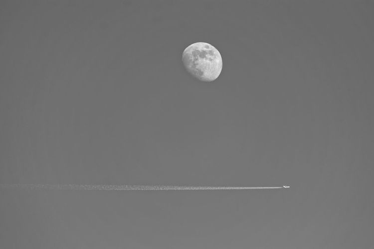 Plane beneath the moon Fineartphotography Fine Art Photography Fine Art Fine Art Painting Painting Wall Art Landscape Landscapes Dramatic Sky Wallpaper Black And White Blackandwhite Black & White Blackandwhite Photography Plane Airplane Astronomy Space Moon Space Exploration Crescent Half Moon Discovery Sky Full Moon Sky Only Vapor Trail Airshow The Traveler - 2018 EyeEm Awards The Great Outdoors - 2018 EyeEm Awards